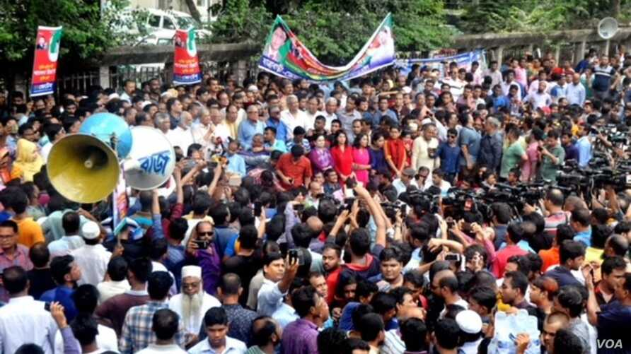 "FILE - BNP leaders and supporters staged a rally in Dhaka on Sept. 10 demanding ""proper"" medical treatment of former Prime Minister Khaleda Zia, who has been in jail after being sentenced in a case of embezzlement of funds."