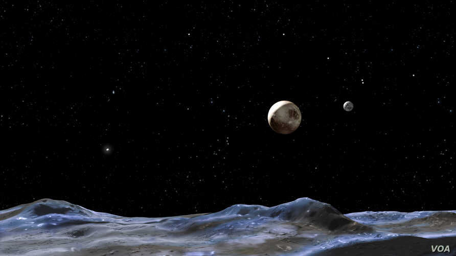 This artist concept shows Pluto and some of its moons, as viewed from the surface of one of the moons. Pluto is the large disk at center. Charon is the smaller disk to the right.