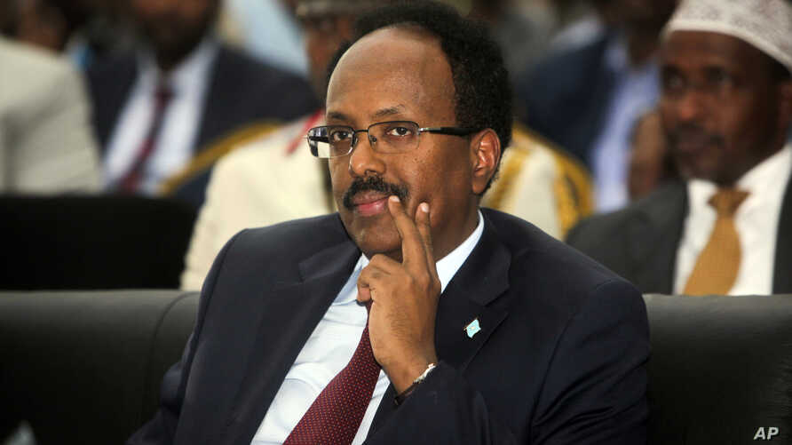 Somalia's President Mohamed Abdullahi Mohamed, also known as Farmajo, attends his inauguration ceremony in Mogadishu, Somalia, Feb. 22, 2017.