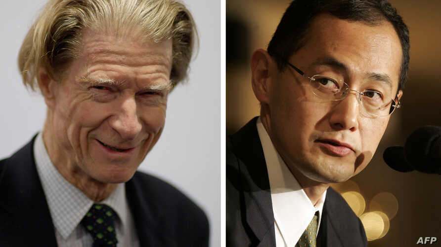 A combination of two recent pictures shows at Left John Gurdon of Britain and at Right Shinya Yamanaka of Japan, who both won the Nobel Prize on October 8, 2012 for work in cell programming, a frontier that has raised dreams of replacement tissue for