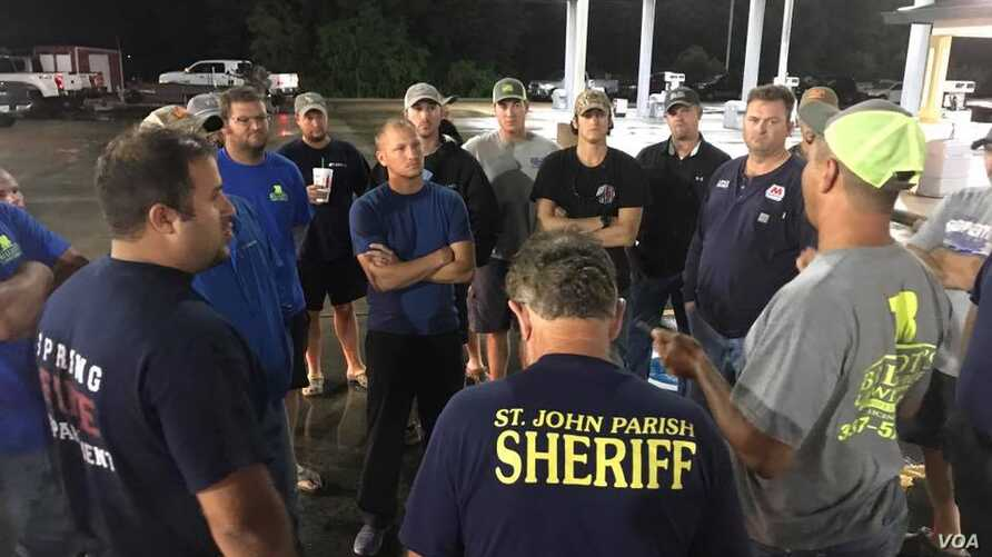 Louisiana's Cajun Navy members prepare to head to Houston, Texas to help with post-hurricane recovery efforts in this photo posted on the group's Facebook page.