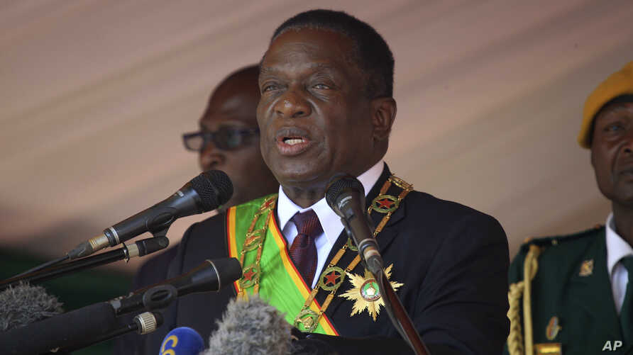 FILE - Zimbabwean President Emmerson Mnangagwa addresses people during a Heroes' Day holiday event to commemorate the lives of those who died in the southern African country's 1970s war against white minority rule, in Harare, Aug. 13, 2018.