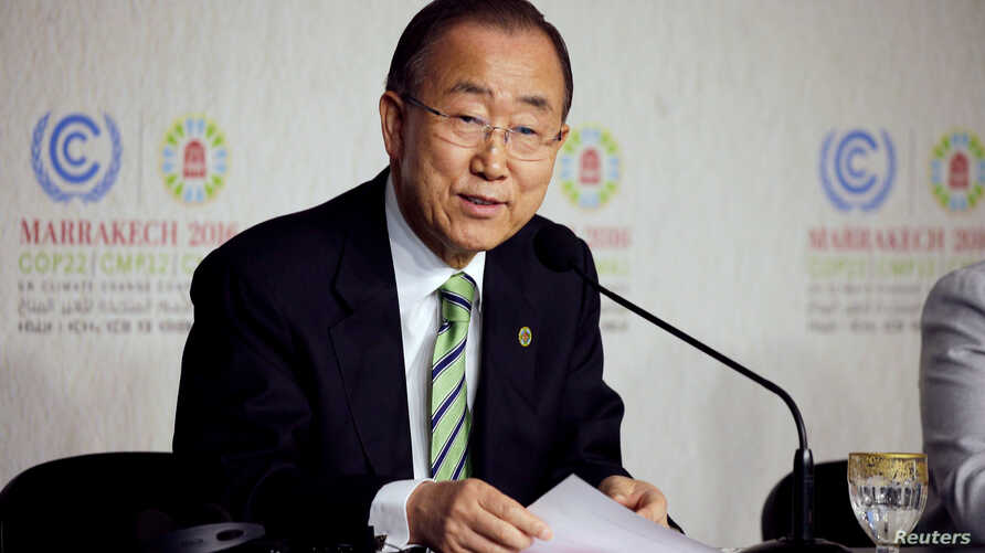 UN Secretary-General Ban Ki-moon speaks at the World Climate Change Conference 2016 in Marrakech, Morocco, Nov. 15, 2016.