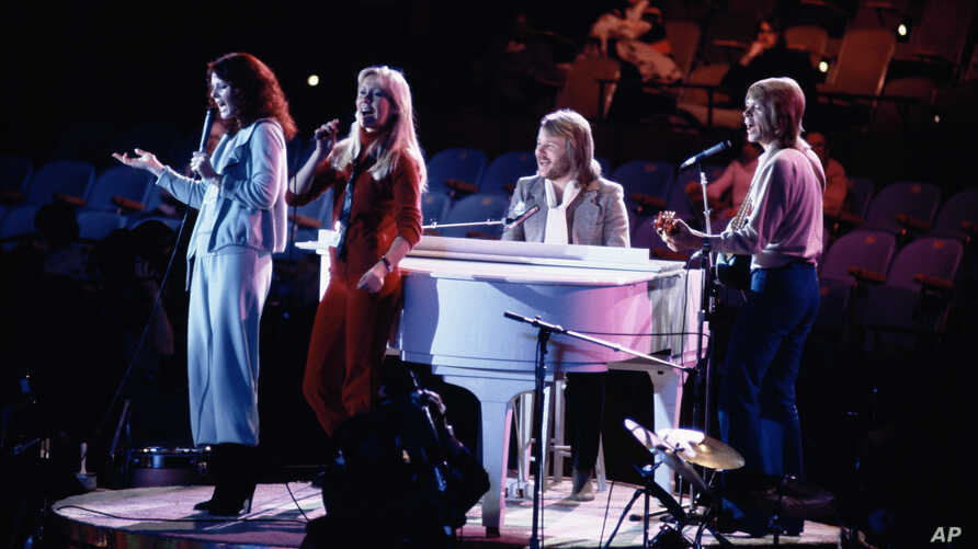 Abba performing at United Nations General Assembly, Tuesday evening, January 9, 1979 in New York, during taping of NBC-TV Special, 'The Music for UNICEF concert.'