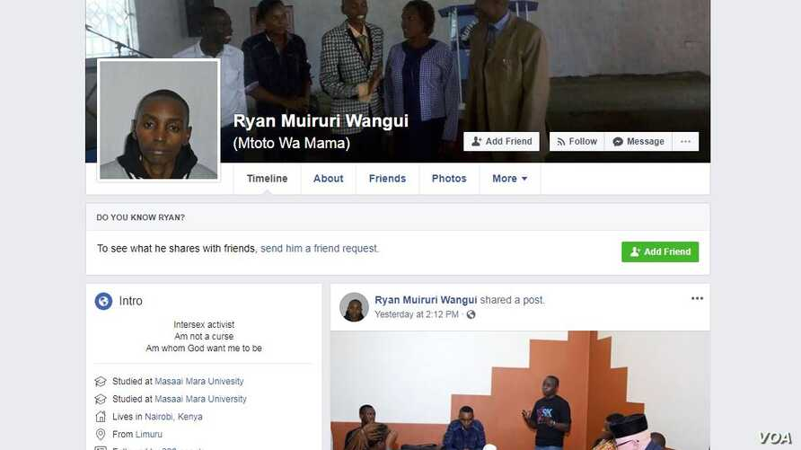 A portion of Ryan Muiruri's Facebook page.