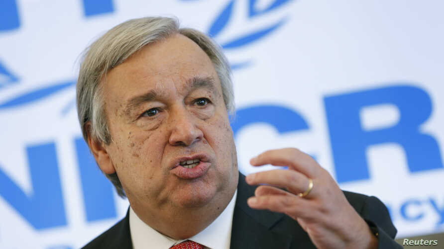Antonio Guterres, United Nations High Commissioner for Refugees (UNHCR) speaks to media about the refugee crisis in Europe, following their bilateral meeting at the UNHCR headquarters in Geneva, Switzerland, Sept. 4, 2015.