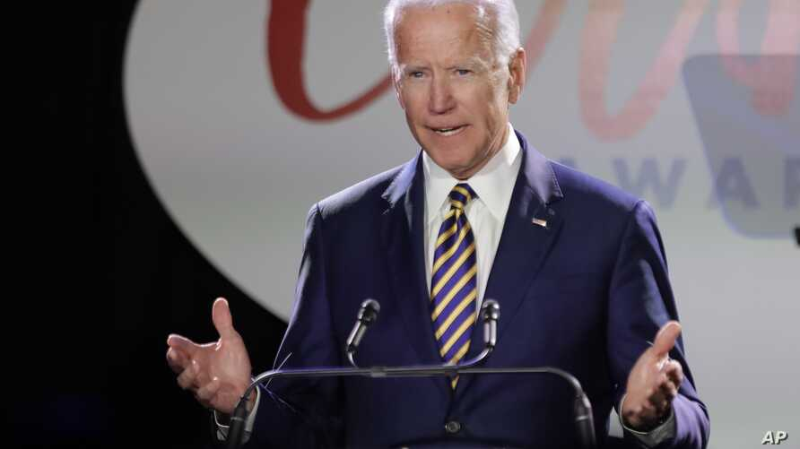 Former Vice President Joe Biden speaks at the Biden Courage Awards, March 26, 2019, in New York.