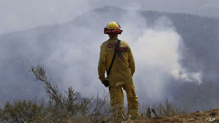 FILE - California Fire engineer Clint Singleton looks out at a plume of smoke near Clearlake, Calif., Aug. 5, 2015.