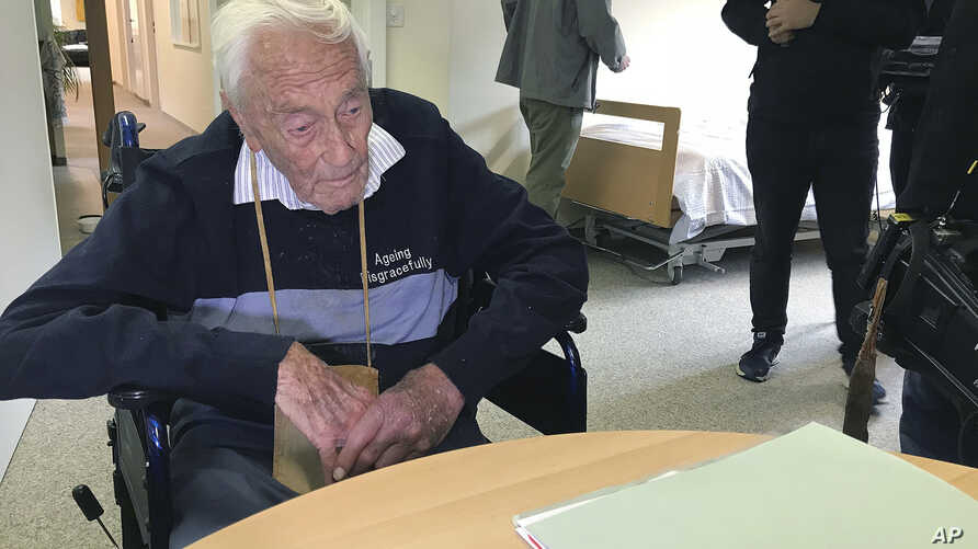 Australian David Goodall, 104, sits in a room in Liestal near Basel, Switzerland, where he planned to end his life on May 10, 2018.