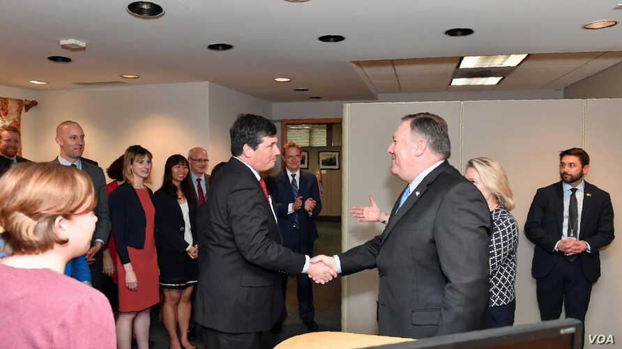 U.S. Secretary of State Mike Pompeo meets with members of the Bureau of East Asian and Public Affairs' Korea Desk Team at the Department of State in Washington, D.C., May 10, 2018.