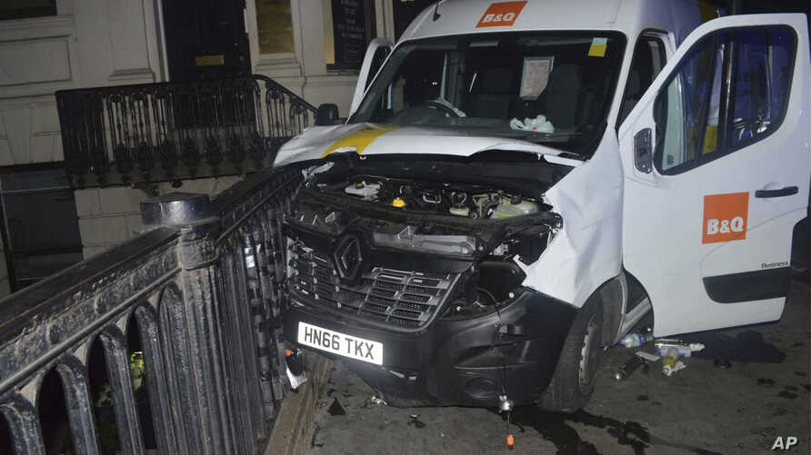 A photo issued by the Metropolitan Police, London, and made available, June 10, 2017, shows the van used in the London Bridge attacks of June 3.