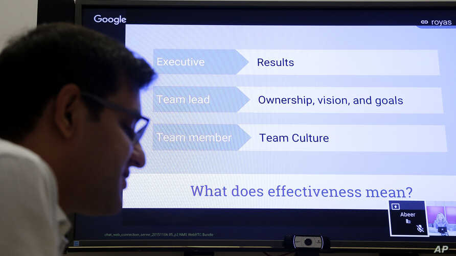 Google director of People Analytics Abeer Dubey, left, and director of People Operations Danielle Hair, on screen, are interviewed in Mountain View, Calif. on Nov. 12, 2015.