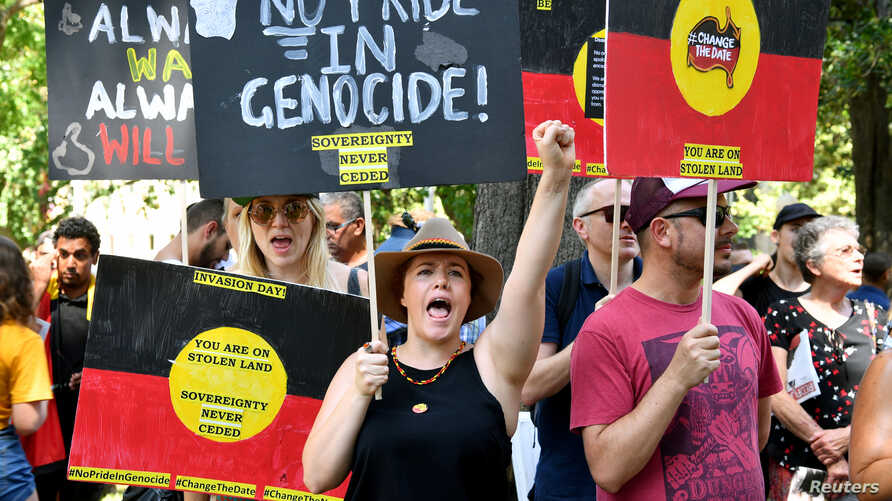 Protesters take part in an Invasion Day Rally in Sydney, Jan, 26, 2019.