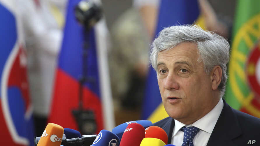 European Parliament President Antonio Tajani speaks with the media as he arrives for an EU summit in Brussels, June 22, 2017.