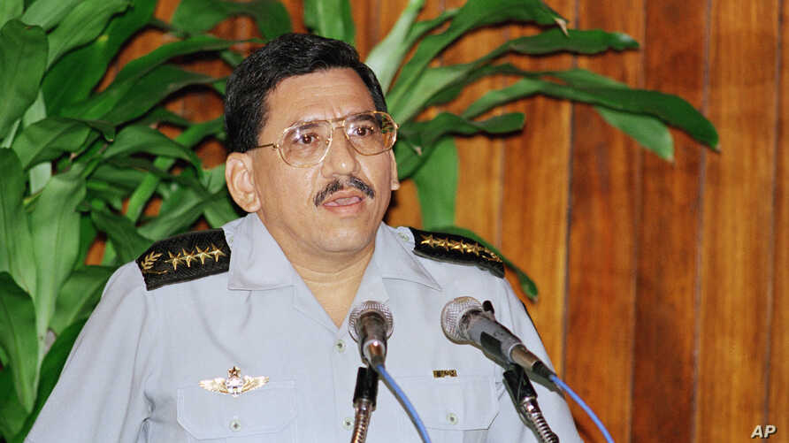 FILE - Humberto Ortega, pictured in 1994 when he was head of the Nicaraguan army, has urged his brother, President Daniel Ortega, to work with the army to resolve the nation's crisis.