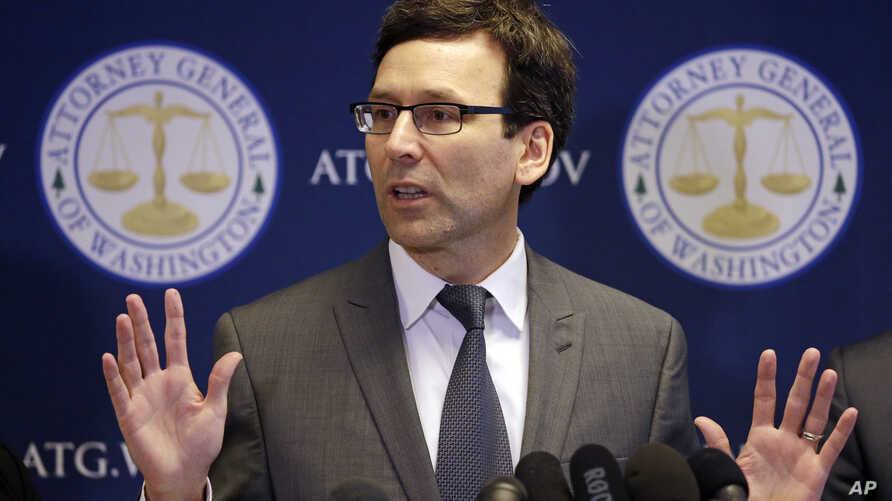 Washington State Attorney General Bob Ferguson speaks at a news conference about the state's response to President Trump's revised travel ban Thursday, March 9, 2017, in Seattle.