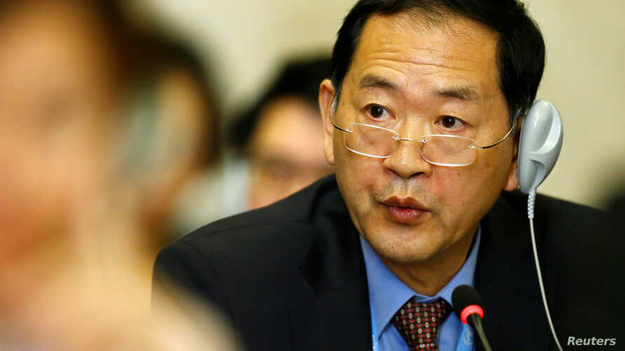 FILE - North Korea's Ambassador to the United Nations Han Tae Song attends a Conference on Disarmament at the United Nations Office in Geneva, Switzerland, Sept. 5, 2017.