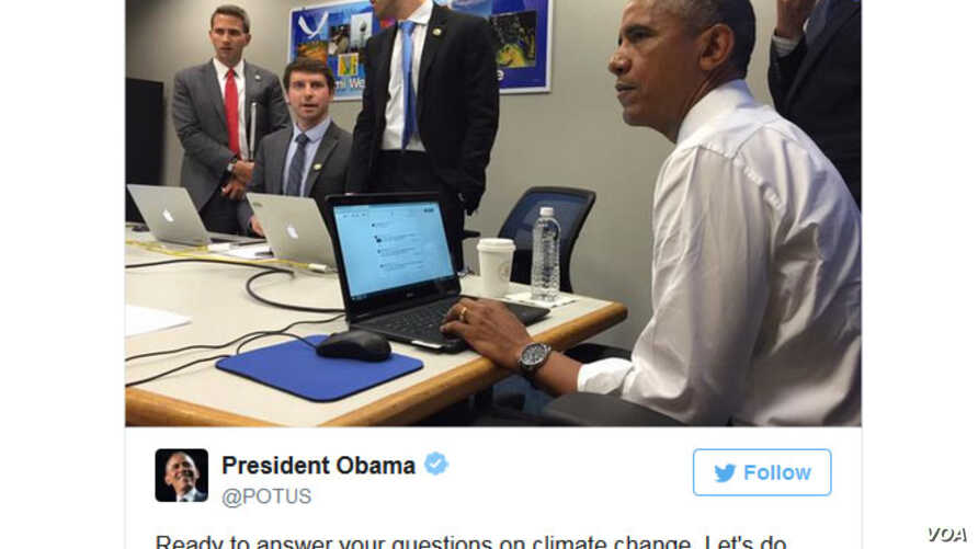 President Barack Obama talks to Americans in his first Twitter Question and Answer session after launching his new handle, @POTUS, May 28, 2015.