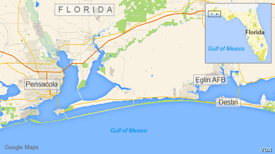 Map of the Florida panhandle showing Pensacola, Destin, and Eglin AFB