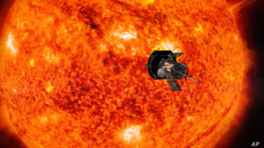 This illustration from NASA shows the Parker Solar Probe spacecraft approaching the sun.