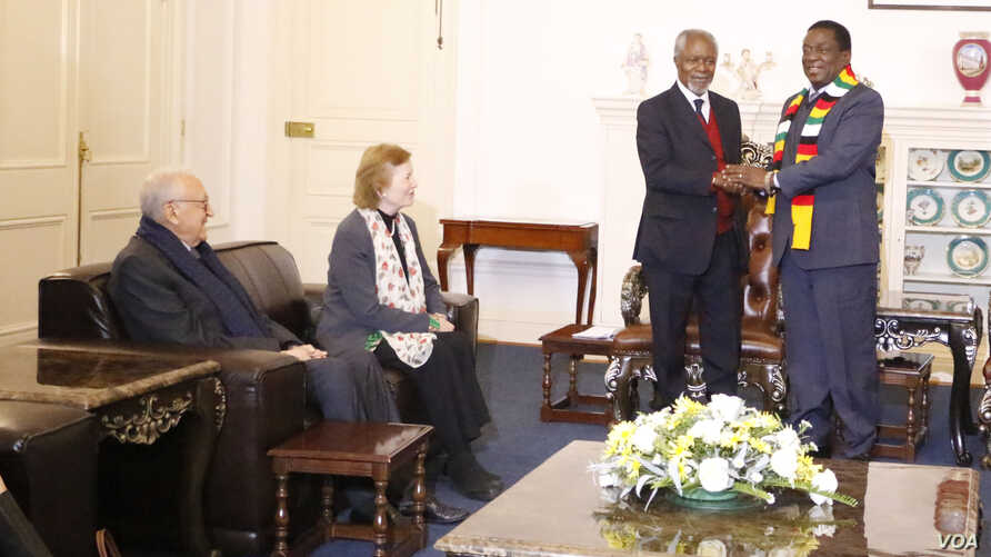 """Former U.N. secretary general Kofi Annan with President Emmerson Mnangagwa at the State House in Harare while fellow members of """"The Elders"""" group Mary Robinson, the former president of Ireland, and Lakhdar Brahimi, an Algerian career diplomat look o"""