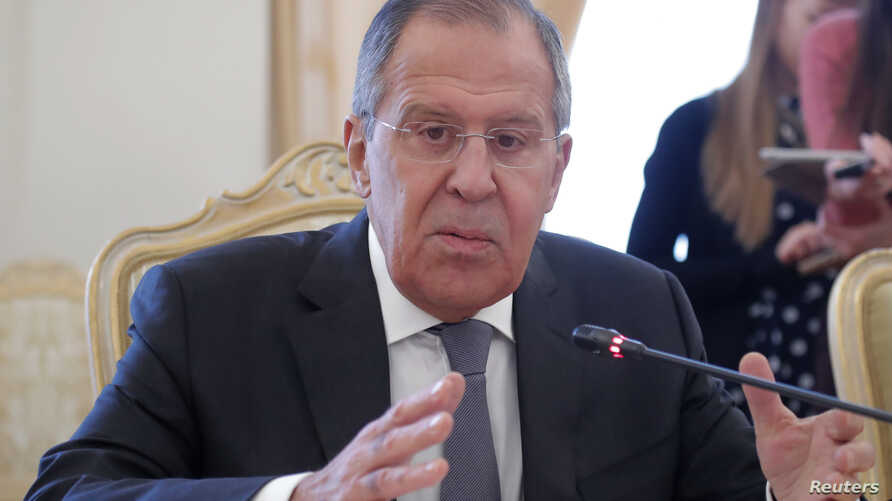 Russian Foreign Minister Sergei Lavrov attends a meeting with his Pakistani counterpart Khawaja Asif in Moscow, Russia, Feb. 20, 2018.