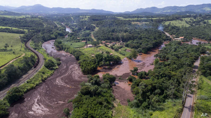An aerial view shows flooding triggered by a mining company dam collapse near Brumadinho, Brazil, Jan. 25, 2019.