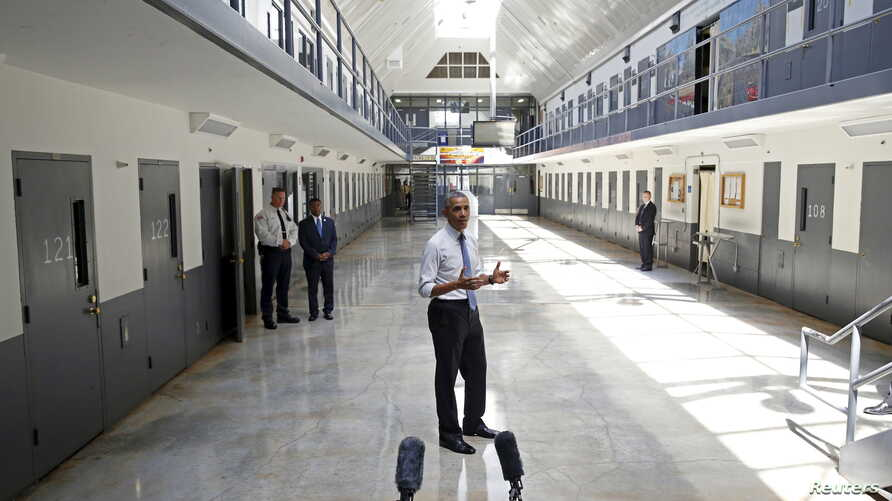 U.S. President Barack Obama, the first sitting president to visit a federal prison, speaks during his visit to the El Reno Federal Correctional Institution outside Oklahoma City, July 16, 2015.