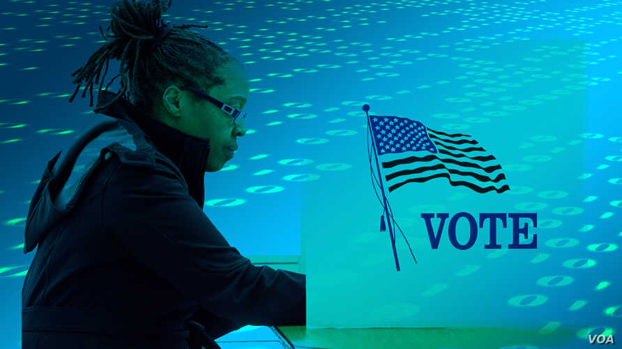 Photo illustration: A voter against a background of ones and zeroes.