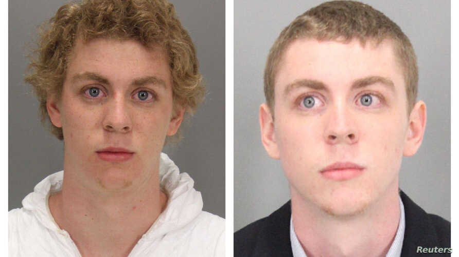 A combination of booking photos by the Santa Clara County (Calif.) Sheriff's Office shows former Stanford University student Brock Turner on January 18, 2015, at the time of arrest, left, and after he was sentenced to six months in jail for the sexua
