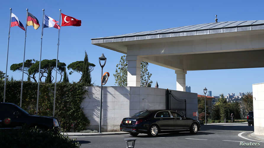 Turkish President Tayyip Erdogan arrives at the presidential Vahdettin Mansion to attend a summit on Syria, in Istanbul, Turkey, Oct. 27, 2018.