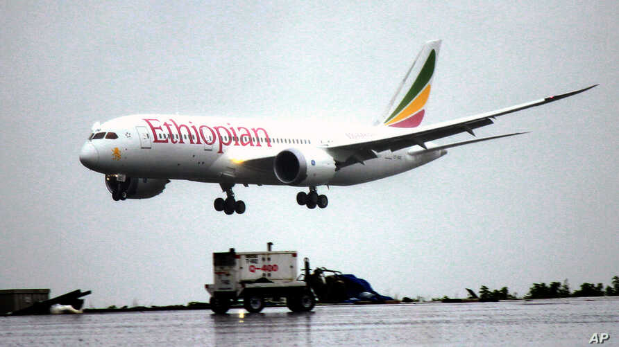 FILE - An Ethiopian Airlines Dreamliner Boeing 787 lands at Bole International airport in Addis Ababa, Ethiopia.