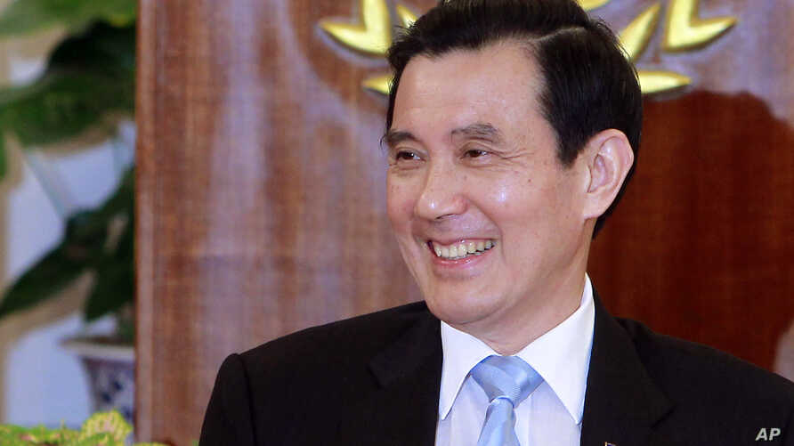 Taiwan's President Ma Ying-jeou addresses media during a press conference detailing his planned meeting with China's President Xi Jinping, at the Presidential Office in Taipei, Taiwan, Thursday, Nov. 5, 2015.