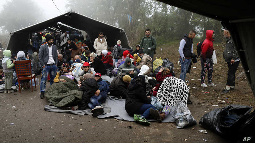 A group of migrants wait to cross a border line between Serbia and Croatia, near the village of Berkasovo, about 100 kilometers (62 miles) west of  Belgrade, Serbia, Oct. 18, 2015.