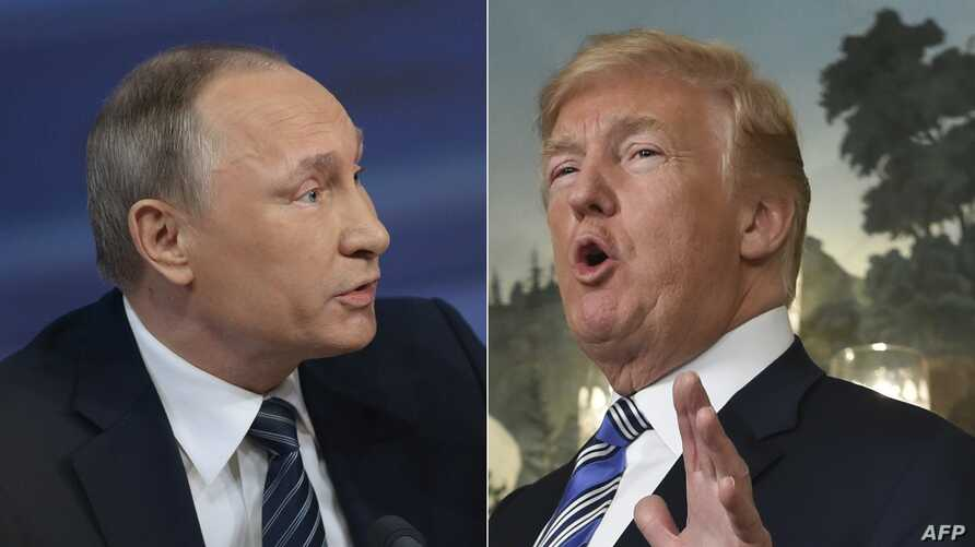 In this file combination of pictures created on March 26, 2018 shows Russian President Vladimir Putin, left, during his annual press conference in Moscow on Dec. 17, 2015, and US President Donald Trump speaking about the spending bill during a press