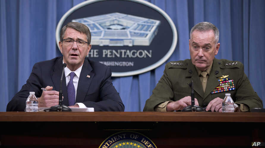 Defense Secretary Ash Carter, accompanied by Joint Chiefs Chairman Gen. Joseph Dunford, announces that U.S. forces killed a senior Islamic State leader, among several key members of the militant group eliminated this week, during a news conference at