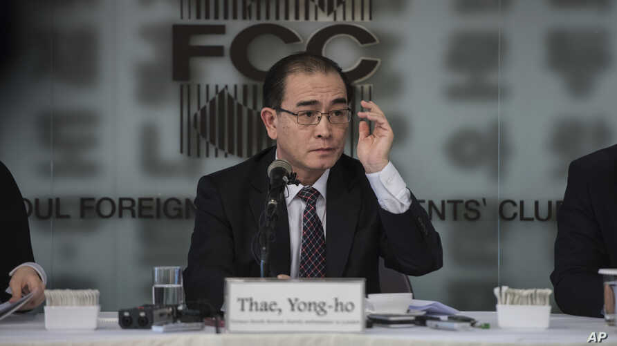File - Former North Korean deputy ambassador to the U.K., Thae Yong Ho speaks with media at the Foreign Correspondents Club in Seoul, South Korea, Jan. 25, 2017.