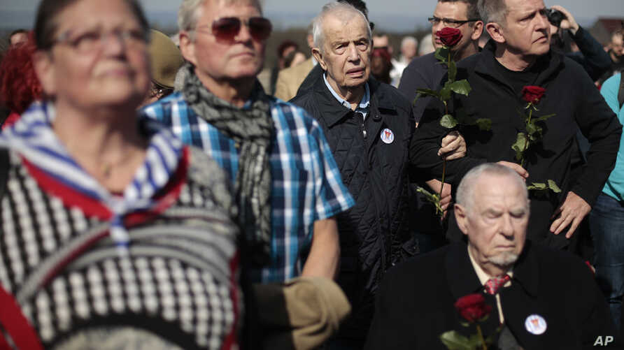 Buchenwald survivors, their relatives and others mark the 70th anniversary of the former Nazi concentration camp's liberation, April 11, 2015. It's a few miles from Weimar, Germany.