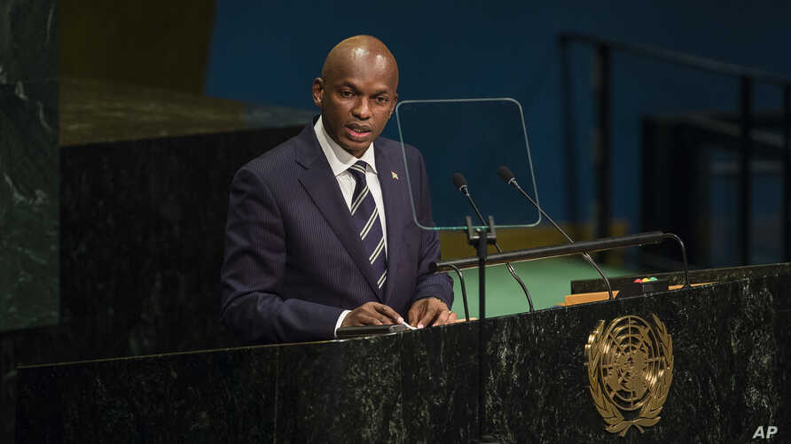 "FILE - Burundi's Foreign Minister Alain Nyamitwe addresses the United Nations General Assembly at U.N. headquarters in New York, Sept. 24, 2016. Nyamitwe claims there are ""politically motivated reasons which have pushed the ICC to act on African case"