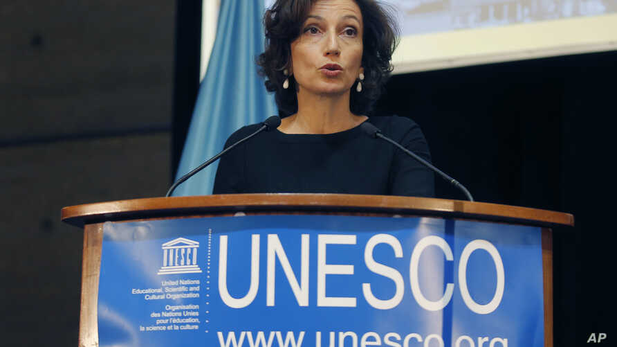 UNESCO'S Director-General Audrey Azoulay delivers a speech during the presentation of the website to counter Holocaust denial and anti-Semitism at the UNESCO headquartered in Paris, France, Nov. 19, 2018.