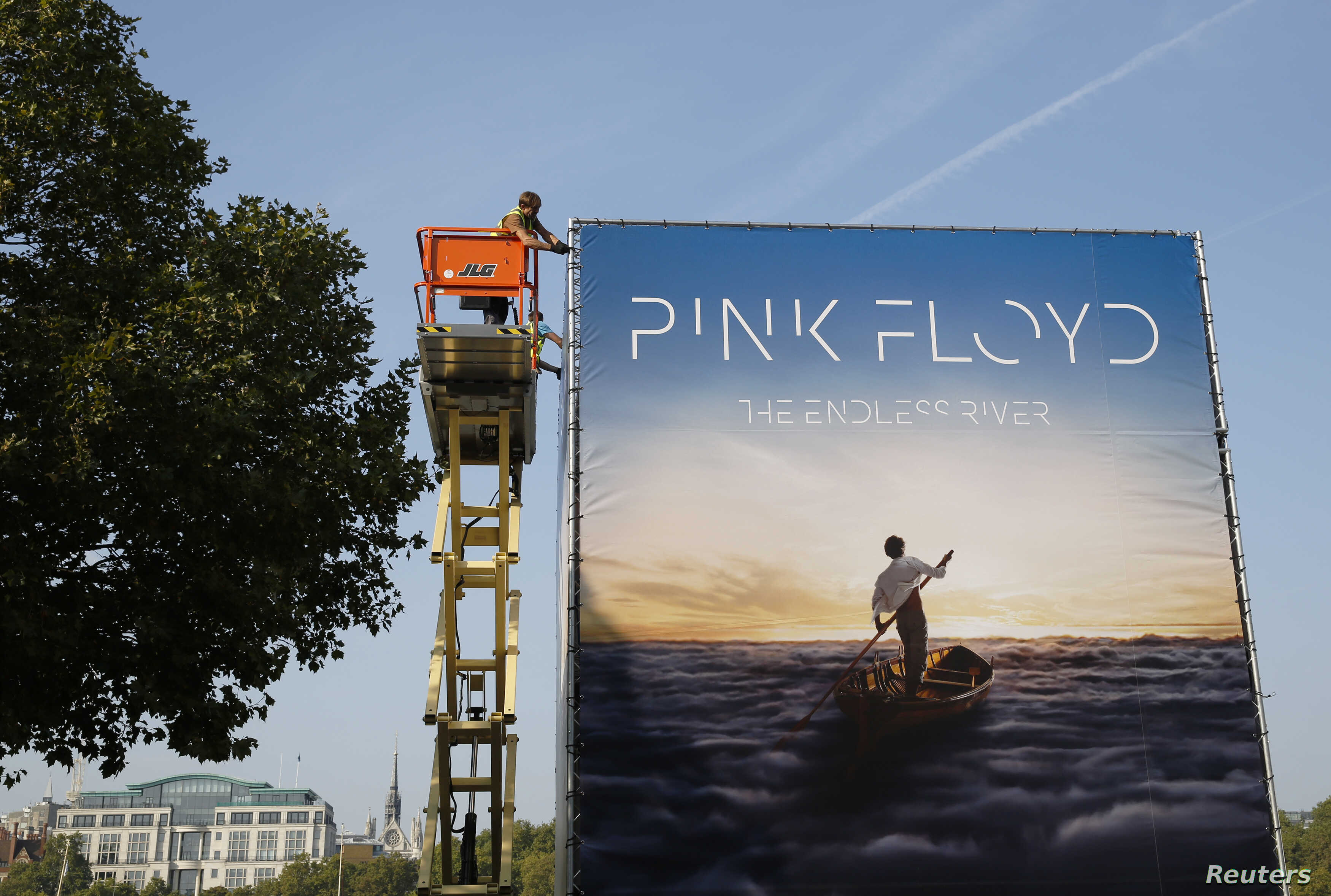 """Advertising for the new Pink Floyd album """"The Endless River"""" is installed on a four-sided billboard on the South Bank in London, Sept. 22, 2014."""