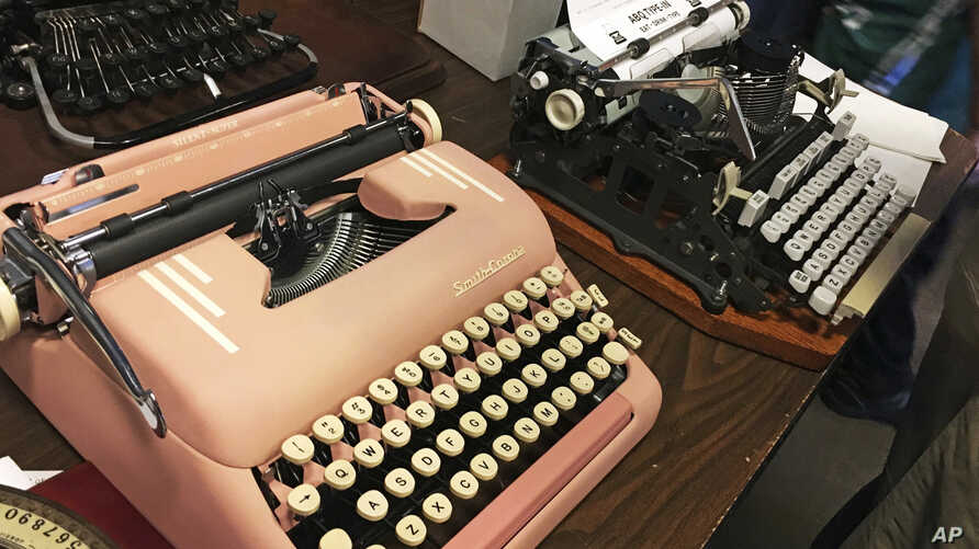 """Vintage typewriters are on display at a """"type-in"""" in Albuquerque, N.M., April 23, 2017. """"Type-ins"""" are social gatherings in public places where typewriter fans test different vintage machines."""