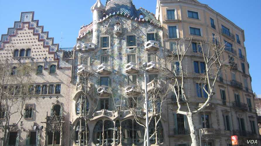 The facade of Casa Batllo, by Catalan architect Antoni Gaudi, has an organic skeletal quality leading locals to refer to it as the House of Bones, in Barcelona.