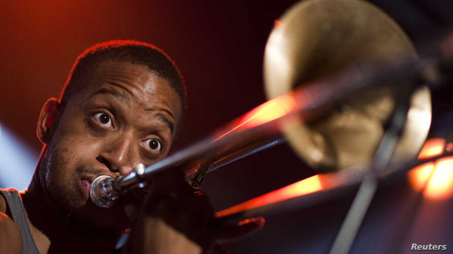 FILE - New Orleans jazz musician Troy 'Trombone Shorty' Andrews performs onstage during the 45th Montreux Jazz Festival in Montreux, July 6, 2011..