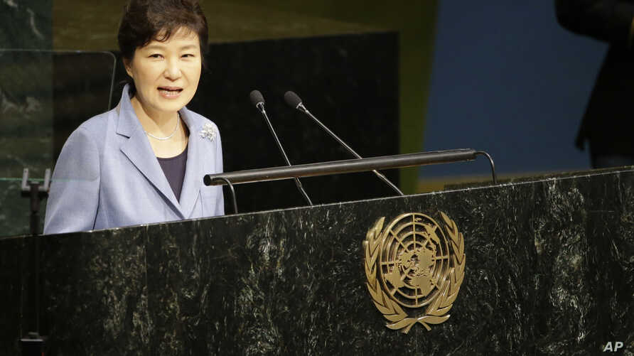 Korean President Park Geun-hye addresses the 70th session of the United Nations General Assembly at U.N. headquarters, Monday, Sept. 28, 2015.