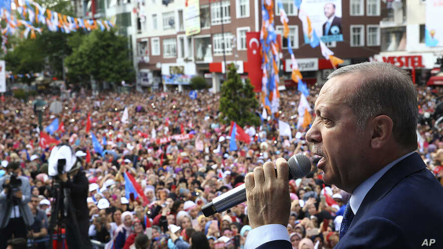 Turkey's President and ruling Justice and Development Party leader Recep Tayyip Erdogan addresses supporters during an election rally in Corlu, near Istanbul, Turkey, May 29, 2018.