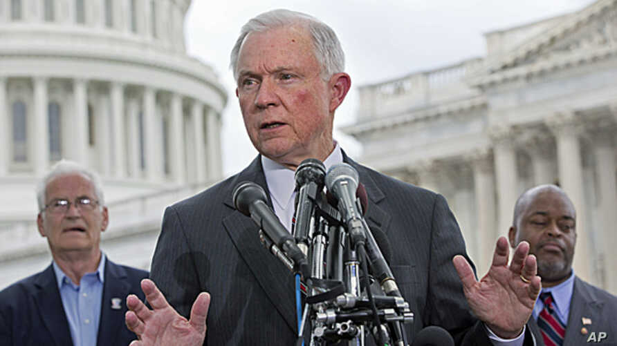 Sen. Jeff Sessions, speaks at a news conference hosted by the Tea Party Patriots to oppose the Senate immigration reform bill,  June 20, 2013, on Capitol Hill in Washington.