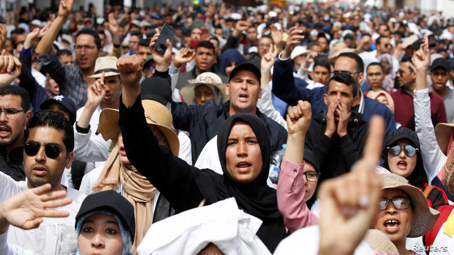 Teachers protest for better work conditions in Rabat, Morocco, March 24, 2019.