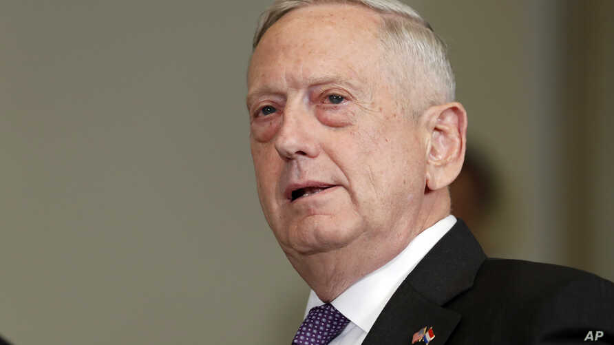 FILE - Defense Secretary Jim Mattis answers a reporter's question about North Korea, before a meeting with Dutch Defense Minister Jeanine Hennis-Plasschaert at the Pentagon, Tuesday, Aug. 15, 2017.