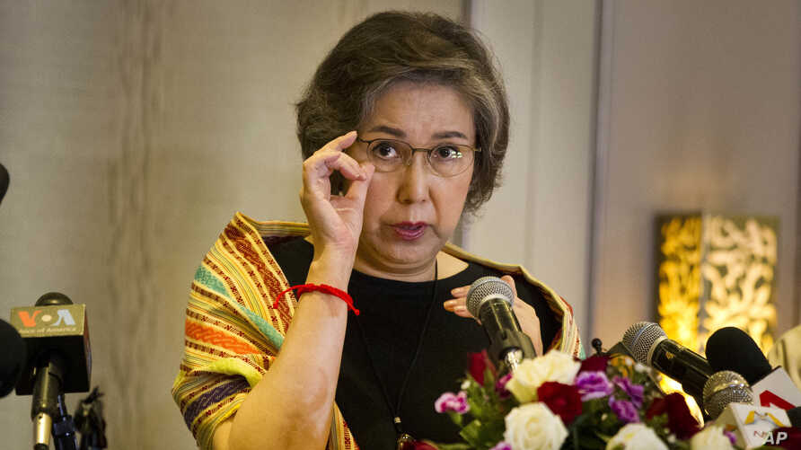 Yanghee Lee, UN Human Rights Special Rapporteur to Myanmar, listens question from journalist during a press briefing at a hotel Friday, July 21, 2017, in Yangon, Myanmar. Lee concluded her twelve days trip to Myanmar on Friday after visiting Rakhine,